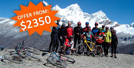 Peru: Mountainbike Trans-Cordillera Blanca Huascaran-Circuit. one of the most spectacular trips on 2 wheels