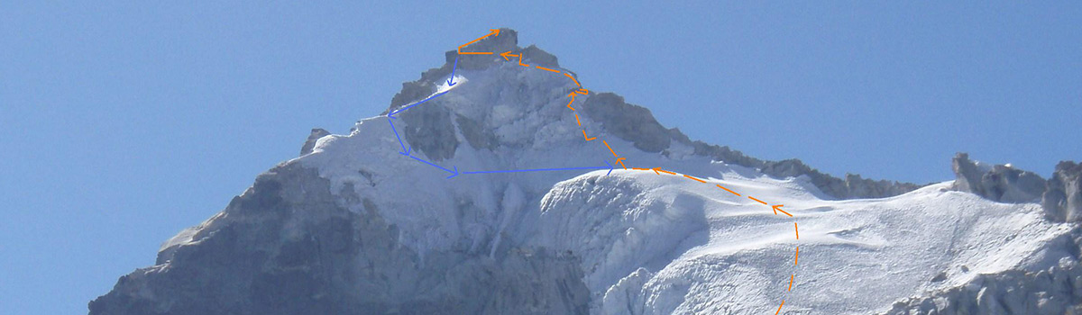 Peru Expeditions Tours: Climbing Nevado Huamashraju (5434 m), located East of the Huaraz City