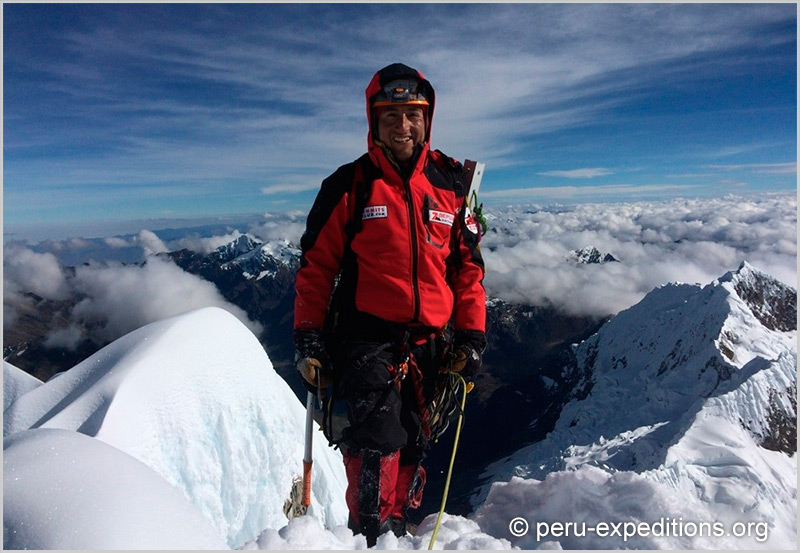 Mountaineering experience on the top Eric Albino Lliuya